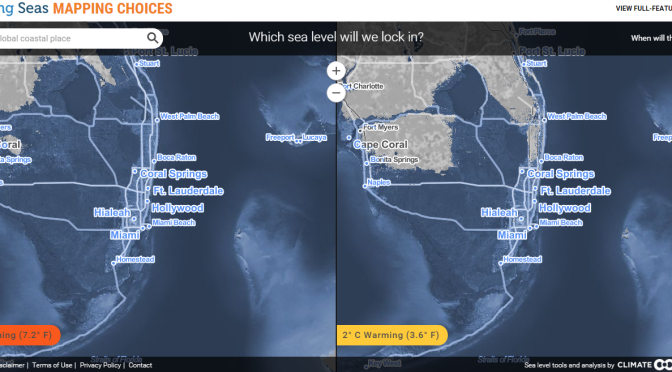 Calentamiento Global: mapa de superficies costeras inundables por el oceano